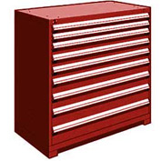 "Rousseau Metal Heavy Duty Modular Drawer Cabinet 9 Drawer Counter High 48""W - Red"