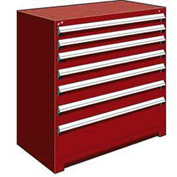 "Rousseau Metal Heavy Duty Modular Drawer Cabinet 7 Drawer Counter High 48""W - Red"