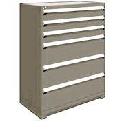 "Rousseau Metal Heavy Duty Modular Drawer Cabinet 6 Drawer Full Height 48""W - Light Gray"