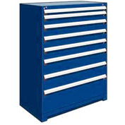 "Rousseau Metal Heavy Duty Modular Drawer Cabinet 8 Drawer Full Height 48""W - Avalanche Blue"