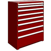 "Rousseau Metal Heavy Duty Modular Drawer Cabinet 8 Drawer Full Height 48""W - Red"