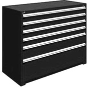"Rousseau Metal Heavy Duty Modular Drawer Cabinet 6 Drawer Counter High 60""W - Black"