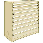 "Rousseau Metal Heavy Duty Modular Drawer Cabinet 9 Drawer Full Height 60""W - Beige"