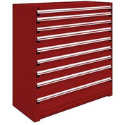 "Rousseau Metal Heavy Duty Modular Drawer Cabinet 9 Drawer Full Height 60""W - Red"