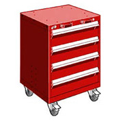 """Rousseau Metal 4 Drawer Heavy-Duty Mobile Modular Drawer Cabinet - 24""""Wx21""""Dx33-1/4""""H Red"""