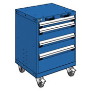 "Rousseau Metal 4 Drawer Heavy-Duty Mobile Modular Drawer Cabinet - 24""Wx21""Dx33-1/4""H Avalanche Blue"