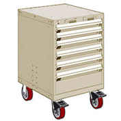 "Rousseau Metal 6 Drawer Heavy-Duty Mobile Modular Drawer Cabinet - 24""Wx21""Dx37-1/2""H Beige"