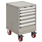 "Rousseau Metal 6 Drawer Heavy-Duty Mobile Modular Drawer Cabinet - 24""Wx21""Dx37-1/2""H Light Gray"