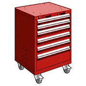 """Rousseau Metal 6 Drawer Heavy-Duty Mobile Modular Drawer Cabinet - 24""""Wx21""""Dx35-1/4""""H Red"""