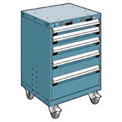 "Rousseau Metal 5 Drawer Heavy-Duty Mobile Modular Drawer Cabinet - 24""Wx21""Dx35-1/4""H Everest Blue"