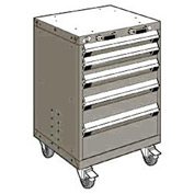 """Rousseau Metal 5 Drawer Heavy-Duty Mobile Modular Drawer Cabinet - 24""""Wx21""""Dx35-1/4""""H Light Gray"""