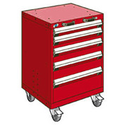 """Rousseau Metal 5 Drawer Heavy-Duty Mobile Modular Drawer Cabinet - 24""""Wx21""""Dx35-1/4""""H Red"""