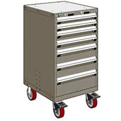 "Rousseau Metal 7 Drawer Heavy-Duty Mobile Modular Drawer Cabinet - 24""Wx21""Dx45-1/2""H Light Gray"
