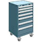 """Rousseau Metal 7 Drawer Heavy-Duty Mobile Modular Drawer Cabinet - 24""""Wx21""""Dx43-1/4""""H Everest Blue"""