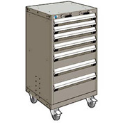 """Rousseau Metal 7 Drawer Heavy-Duty Mobile Modular Drawer Cabinet - 24""""Wx21""""Dx43-1/4""""H Light Gray"""