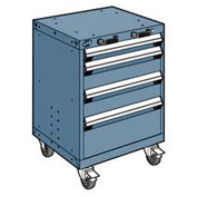"""Rousseau Metal 4 Drawer Heavy-Duty Mobile Modular Drawer Cabinet - 24""""Wx27""""Dx33-1/4""""H Everest Blue"""