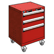 "Rousseau Metal 3 Drawer Heavy-Duty Mobile Modular Drawer Cabinet - 24""Wx27""Dx33-1/4""H Red"