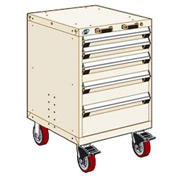 "Rousseau Metal 5 Drawer Heavy-Duty Mobile Modular Drawer Cabinet - 24""Wx27""Dx37-1/2""H Beige"
