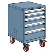 "Rousseau Metal 5 Drawer Heavy-Duty Mobile Modular Drawer Cabinet - 24""Wx27""Dx37-1/2""H Everest Blue"
