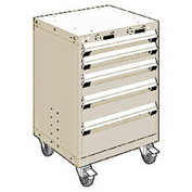 """Rousseau Metal 5 Drawer Heavy-Duty Mobile Modular Drawer Cabinet - 24""""Wx27""""Dx35-1/4""""H Beige"""