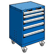 "Rousseau Metal 5 Drawer Heavy-Duty Mobile Modular Drawer Cabinet - 24""Wx27""Dx35-1/4""H Avalanche Blue"
