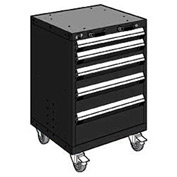 "Rousseau Metal 5 Drawer Heavy-Duty Mobile Modular Drawer Cabinet - 24""Wx27""Dx35-1/4""H Black"