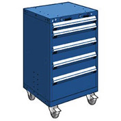"Rousseau Metal 5 Drawer Heavy-Duty Mobile Modular Drawer Cabinet - 24""Wx27""Dx39-1/4""H Avalanche Blue"