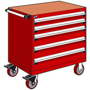 "Rousseau Metal 5 Drawer Heavy-Duty Mobile Modular Drawer Cabinet - 30""Wx21""Dx37-1/2""H Red"
