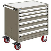 """Rousseau Metal 6 Drawer Heavy-Duty Mobile Modular Drawer Cabinet - 30""""Wx21""""Dx37-1/2""""H Light Gray"""