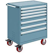 "Rousseau Metal 7 Drawer Heavy-Duty Mobile Modular Drawer Cabinet - 30""Wx21""Dx45-1/2""H Everest Blue"
