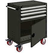 "Rousseau Metal 4 Drawer Heavy-Duty Mobile Modular Drawer Cabinet - 30""Wx21""Dx45-1/2""H Black"
