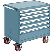 "Rousseau Metal 6 Drawer Heavy-Duty Mobile Modular Drawer Cabinet - 30""Wx27""Dx37-1/2""H Everest Blue"