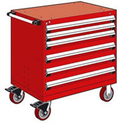 "Rousseau Metal 6 Drawer Heavy-Duty Mobile Modular Drawer Cabinet - 30""Wx27""Dx37-1/2""H Red"