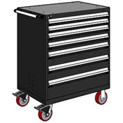 "Rousseau Metal 7 Drawer Heavy-Duty Mobile Modular Drawer Cabinet - 30""Wx27""Dx45-1/2""H Black"
