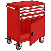 "Rousseau Metal 4 Drawer Heavy-Duty Mobile Modular Drawer Cabinet - 30""Wx27""Dx45-1/2""H Red"