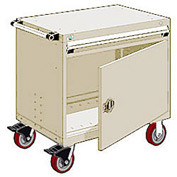 """Rousseau Metal 1 Drawer Heavy-Duty Mobile Modular Drawer Cabinet - 36""""Wx18""""Dx35-1/2""""H Beige"""