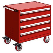 "Rousseau Metal 4 Drawer Heavy-Duty Mobile Modular Drawer Cabinet - 36""Wx18""Dx35-1/2""H Red"