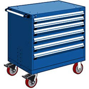 "Rousseau Metal 6 Drawer Heavy-Duty Mobile Modular Drawer Cabinet - 36""Wx18""Dx37-1/2""H Avalanche Blue"
