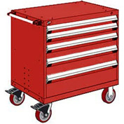 """Rousseau Metal 5 Drawer Heavy-Duty Mobile Modular Drawer Cabinet - 36""""Wx18""""Dx37-1/2""""H Red"""
