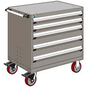 """Rousseau Metal 5 Drawer Heavy-Duty Mobile Modular Drawer Cabinet - 36""""Wx18""""Dx37-1/2""""H Light Gray"""