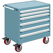 "Rousseau Metal 6 Drawer Heavy-Duty Mobile Modular Drawer Cabinet - 36""Wx18""Dx37-1/2""H Everest Blue"