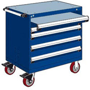 "Rousseau Metal 4 Drawer Heavy-Duty Mobile Modular Drawer Cabinet - 36""Wx18""Dx37-1/2""H Avalanche Blue"