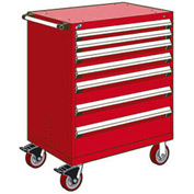 "Rousseau Metal 7 Drawer Heavy-Duty Mobile Modular Drawer Cabinet - 36""Wx18""Dx45-1/2""H Red"