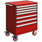 """Rousseau Metal 7 Drawer Heavy-Duty Mobile Modular Drawer Cabinet - 36""""Wx18""""Dx45-1/2""""H Red"""