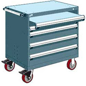 "Rousseau Metal 4 Drawer Heavy-Duty Mobile Modular Drawer Cabinet - 36""Wx24""Dx37-1/2""H Everest Blue"