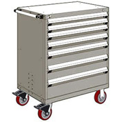 "Rousseau Metal 7 Drawer Heavy-Duty Mobile Modular Drawer Cabinet - 36""Wx24""Dx45-1/2""H Light Gray"