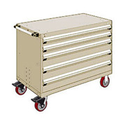 "Rousseau Metal 5 Drawer Heavy-Duty Mobile Modular Drawer Cabinet - 48""Wx24""Dx37-1/2""H Beige"