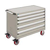 """Rousseau Metal 5 Drawer Heavy-Duty Mobile Modular Drawer Cabinet - 48""""Wx24""""Dx37-1/2""""H Light Gray"""