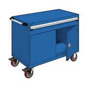 "Rousseau Metal 1 Drawer Heavy-Duty Mobile Modular Drawer Cabinet - 48""Wx24""Dx37-1/2""H Avalanche Blue"