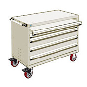 "Rousseau Metal 4 Drawer Heavy-Duty Mobile Modular Drawer Cabinet - 48""Wx24""Dx37-1/2""H Beige"